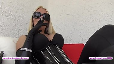 Beautiful Blonde sexy smoking Leather boots gloves
