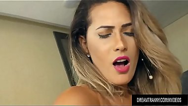 Beautiful Transsexual Bella Atrix Uses Her Mouth and Ass to Please a Guy