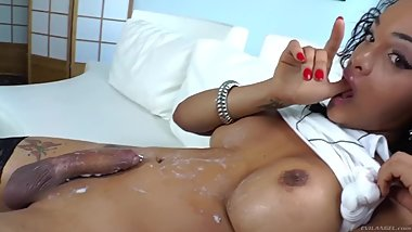 Shemale with pierced cock cums