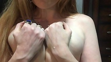 Engorged tits leaking milk play ginger milf