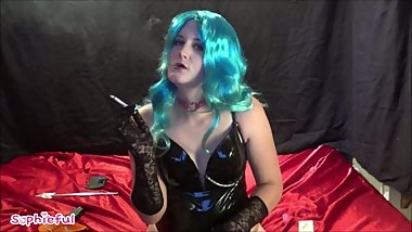 Shiny Bodysuit Wearing Goth Sissy Tgirl Chain Smoking 120s