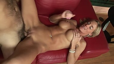 Mouthy blonde MILF with big tits gets destroyed by cock with huge veins