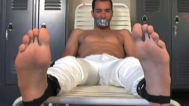 Kidnapped Jock, bound, gagged and worshipped.
