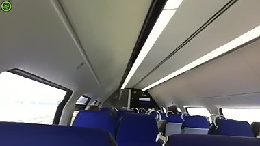 girlfriend showing boobs & pussy on train
