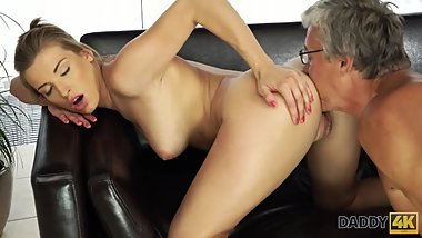DADDY4K. Girl left with mouthful of jizz after being fucked by daddy