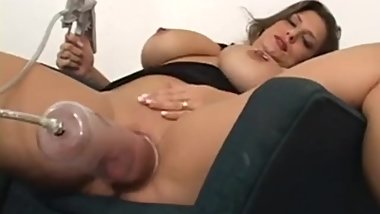 Plumper Girl pumping Pussy and fucked by black gay