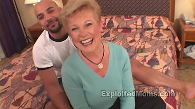 Blonde Granny Video Gets Her Ovaries Knocked Out by a Big Black Cock