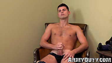 Army guy Spencer Shay wanks off and shows his round ass