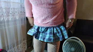 Pink Sweater & Schoolgirl Skirt 9