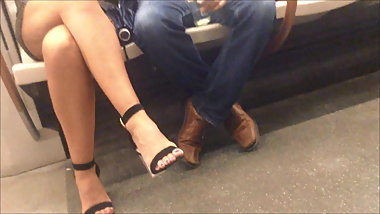Candid Feet on the metro
