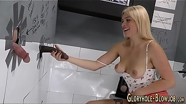 Babe spermed at gloryhole