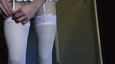 Petite sissy CD in her pantyhose and stained cum shirt 2