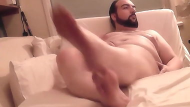 Barefoot Bear Big Feet Tease and Cum on Black Shirt