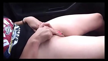 Hot Masturbating In The Car Next To Her Date