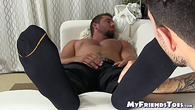 Young gay freak worships muscular guys feet way too much