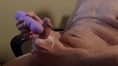 Vibrator cumshot with moaning intense ejaculation