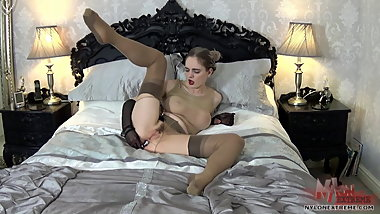 Encased Ass Plugged Nylon Play
