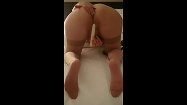 Vife play with vibrator and give me stockings footjob