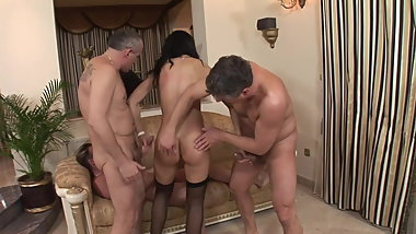 Hot Sexy Brunette Fucked by 3 Men