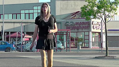 Crossdresser Tranny in public wears short Skirt & High Heels