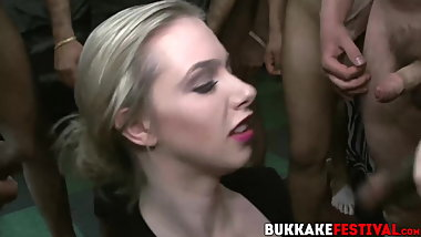 Busty chicks and hung dudes have interracial bukkake party