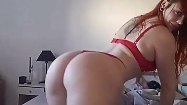 20 y.o redhead showing her big booty on the bed (big tits)