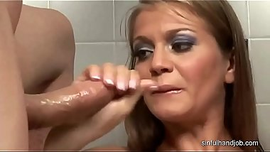 Hungarian blonde gives handjobs