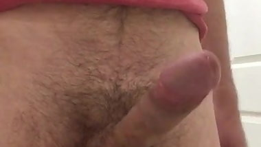Horny guy wanking and cumming at home after watching porn