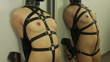 Hot Teen in Harness Restrained, Hooded & Hogtied