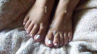 Wife's Pretty Feet: Cum Covered White Polish Pt2