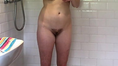 Curvey Brunette with Amazing Body taking Shower Hidden Spy