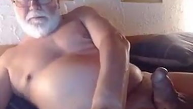 Handome Grandpa Strokes and Cum