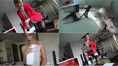 Bared and Embarrassed Business Woman