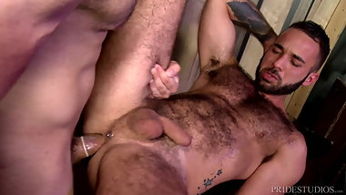 MenOver30 Hairy Hunk Daddy Analized By Muscle Latino Jock