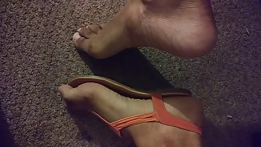 My moms sexy feet in sandals