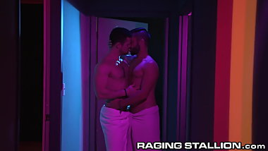 RagingStallion Horny Muscle Hunks Sneak Blowjob In The Hall