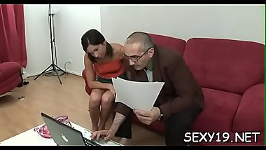 Horny old teacher is pounding chick'_s love tunnel tenaciously