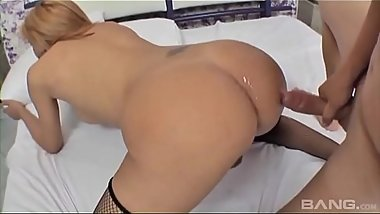 Pretty brazillian tranny gets hard ass fucking