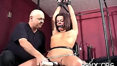 Horny floozy gets stimulated whilst being totaly bounded up