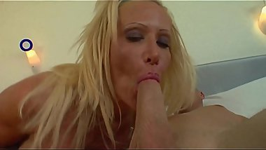 Busty blonde crazy for a cock