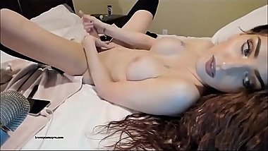 Really Hot Shemale Chills And Strokes Her Cock ( Very Sexy )