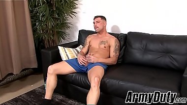 Naughty hunk Calvin teases with inked body and masturbates