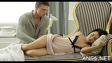 Gorgeous darling is driving hunk insane with her skillful fellatio