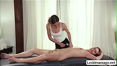 Masseuse makes her client wet and horny