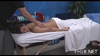 Very hawt 18 year old pretty gets fucked hard doggy style by her massage therapist