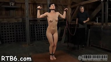 Lovely beauty receives facial torment during bdsm play