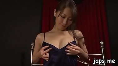 Cute asian babe in between legs to give sexy pov blowjob