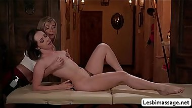 Carolina licks her co masseuses pussy