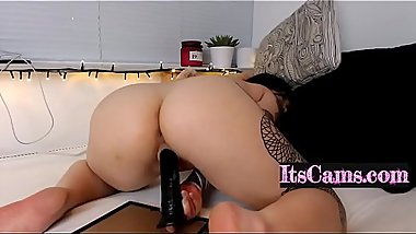 Big Ass Slut Rides A Big Black Dildo On Cam
