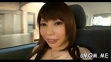 Needy asian woman astounding nudity and solo act